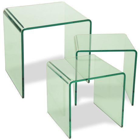 3 Mesas Conj.Vidro Temperado Sidetable - by OVO Home Design
