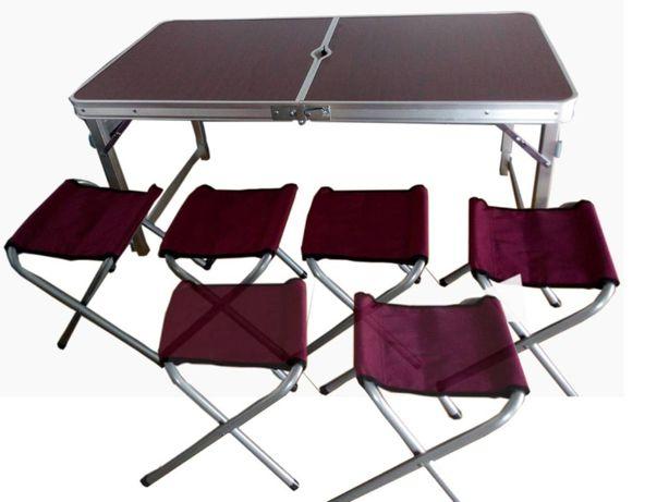 Стол для пикника кемпинга туризма Усиленный раскладной стол +6стульев