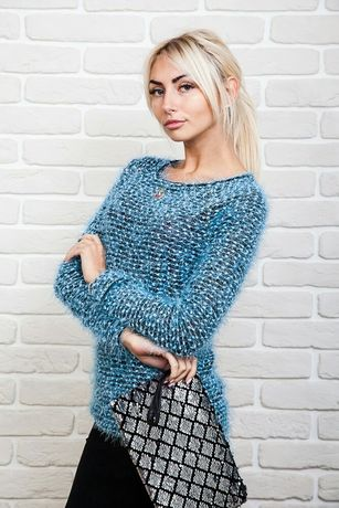 Кофта свитер джемпер туника травка голубая, размер L-XL