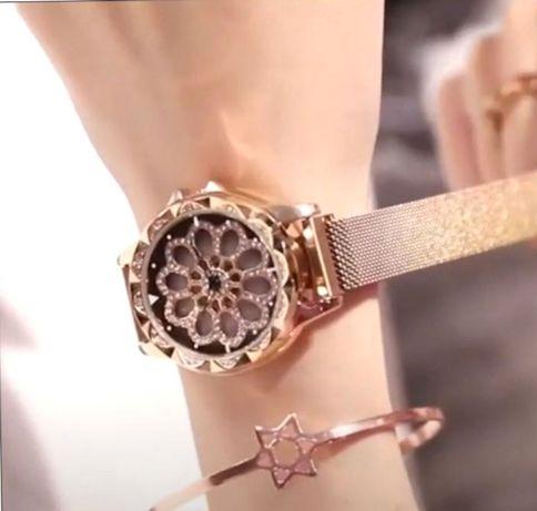 женские наручные часы с вращающимся циферблатом flower diamond