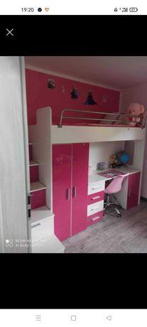 Łóżko dzieciece piętrowe biurko schody szafki materac 200cm