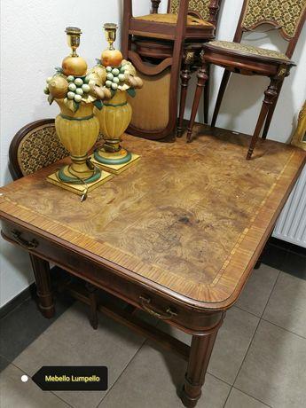 Komplet stół drewniany orzech krzesła do renowacji art deco biedermeie