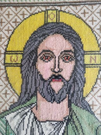 Вышивка ручная крестиком. Икона вишивка ІС ХС Иисус Христос