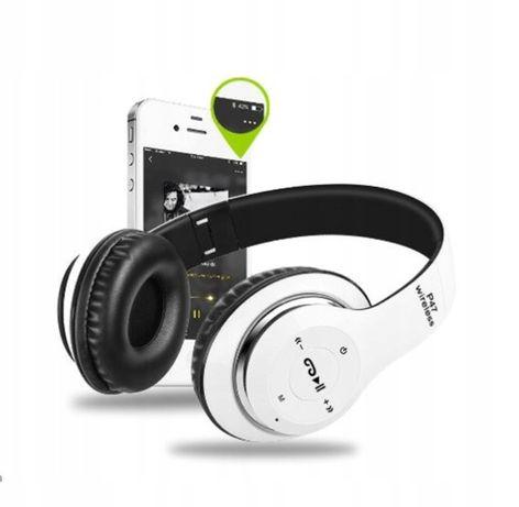Słuchawki bezprzewodowe białe P47 bluetooth mikrofon mp3 zabawka