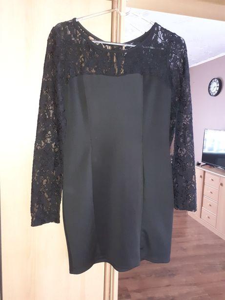 Czarna sukienka koronka, kokardki