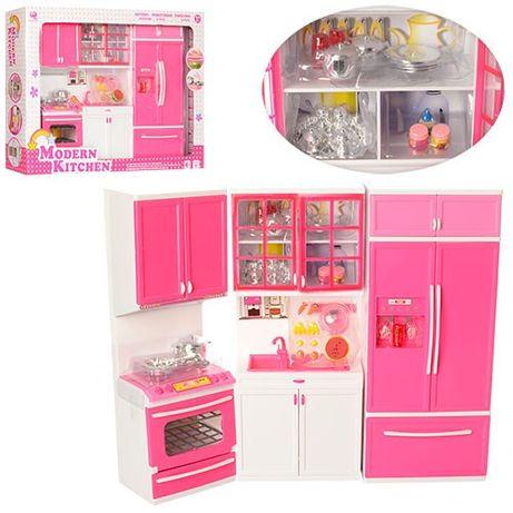 Кухня кукольная 3 секции, свет и звуки, плита, холодильник