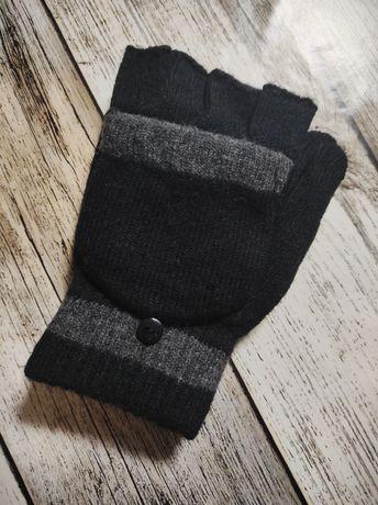 Перчатки-варежки митенки мужские без пальцев с рукавицей чёрные серые
