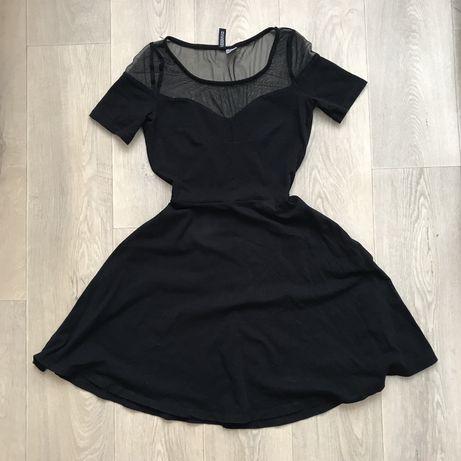 H&m xs стильное элегантное черное платье мини вырез сердечком