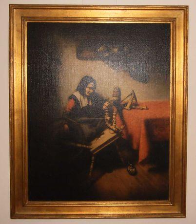 """Quadro RÉPLICA c/ moldura dourada:""""Mulher a Fiar"""", Nicolaes Maes, 1660"""