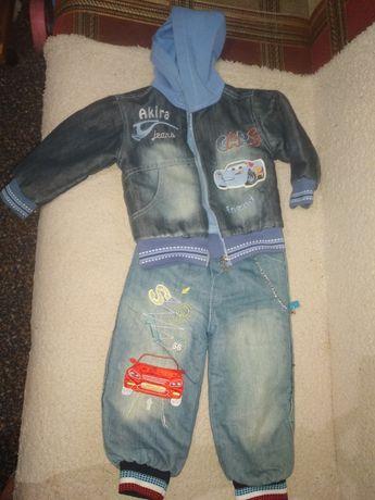 Джинсовые куртка+штаны на травке на рост 86
