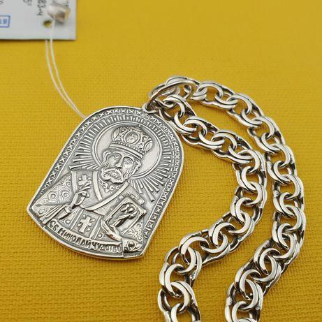 Комплект! Мужская серебряная цепочка и ладанка. Цепь и кулон серебро