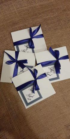 Zaproszenia ślub ślubne kwadrat rozkładane biel eleganckie