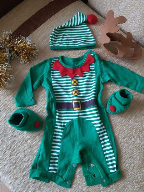 Рождественский боди гномика с шапочкой и топиками. Англия. Новый год