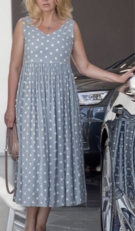 Платье в горох цвет:серый)размер-50