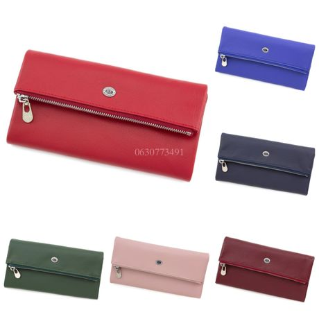 Оригинальный женский кожаный кошелёк клатч  с отделением на молнии ST