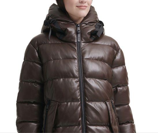 Кожаный пуховик искусственная кожа DKNY Donna Karan р-р S-M коричневый
