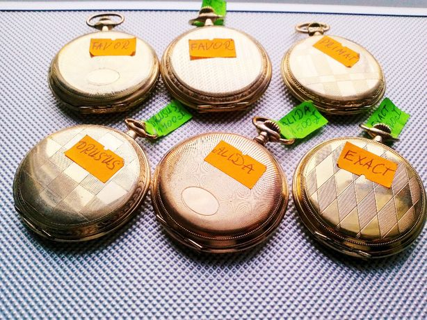 Srebrny Kolekcja zegarków kieszonkowych Szwajcarów pozłacanych pr;08