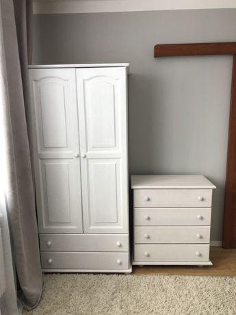 Szafa sosnowa, drewniana, garderoba, biała