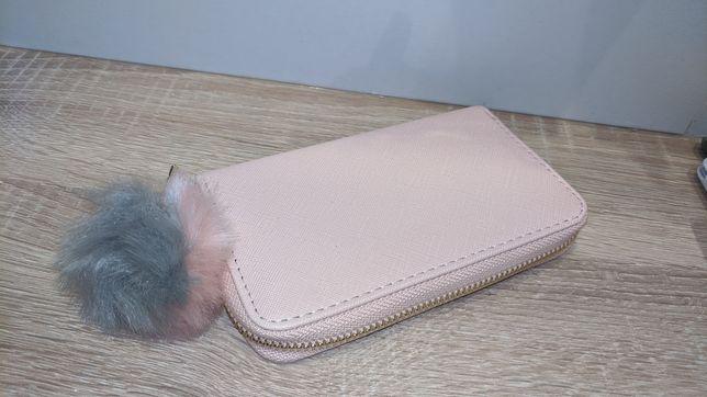 Новый женский кошелёк, с помпоном, светло розовый