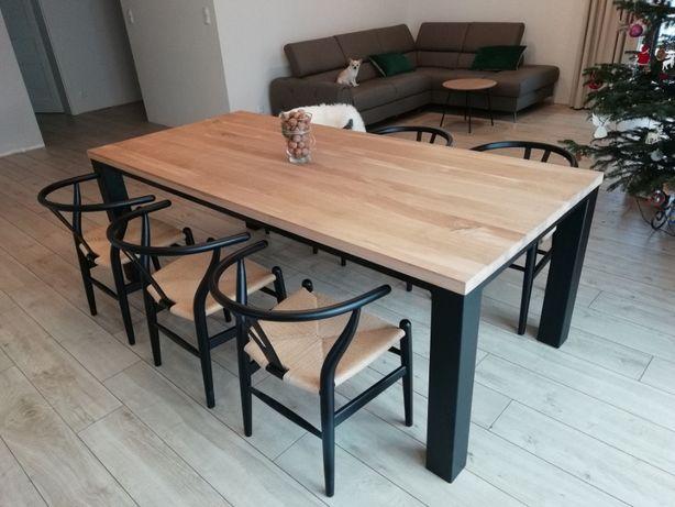 Stół dębowy 200 x 90 cm nogi 10 x 10 metalowe 100 % Drewno Wysyłka