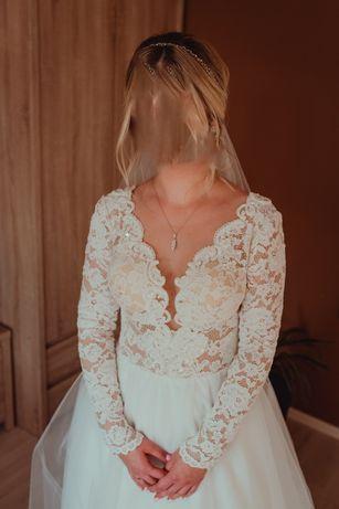 Suknia ślubna z koronkowymi rękawami, przepiękna ! Model Mirabell