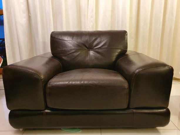 Fotel skóra naturalna ciemny brąz