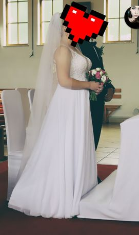 Suknia ślubna rozm. 40 + biżuteria