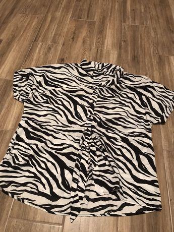 Koszula w zebre z krotkim rekawem oversize