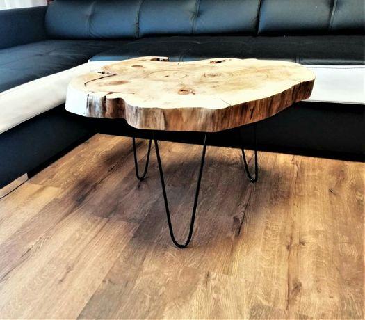 stolik kawowy drewniany asymetryczny styl loftowy industrialny
