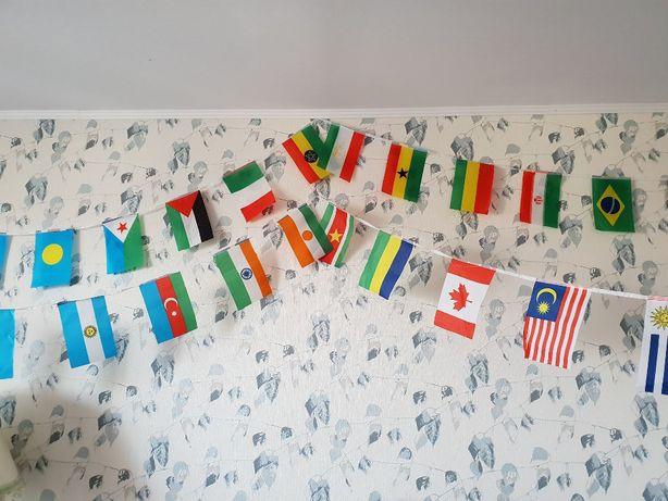 Girlanda flagi 100 szt państw unikatowe Nowe urodziny zabawa