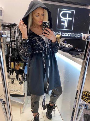 Bluza tunika rozpinana czarna cekiny Paparazzi UNI