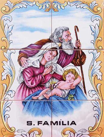 Painéis de Azulejos 45x30cm Sagrada Família de Nazaré Imagem Quadro