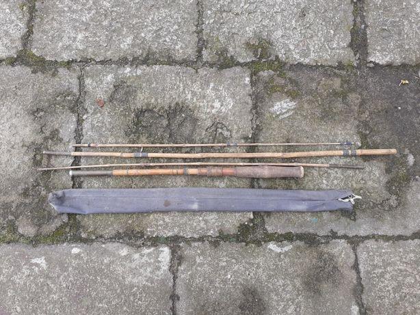 Stara wędka bambusowa z pokrowcem-czasy PRL-u