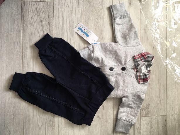 Komplet chłopięcy 57-62, koszula, spodnie, body z długim rękawem