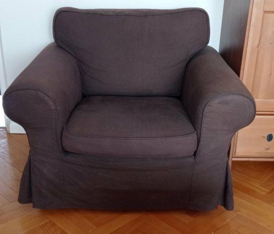 Fotel ikea ektorp czekoladowy brąz