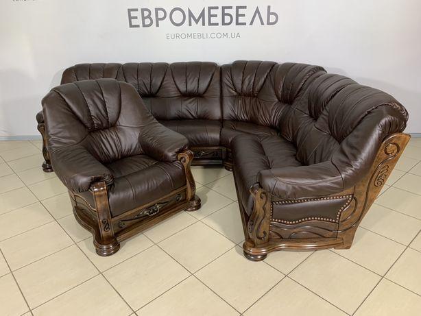 Угловой диван и кресло на дубовом каркассе .уголок, комплект, кожаный