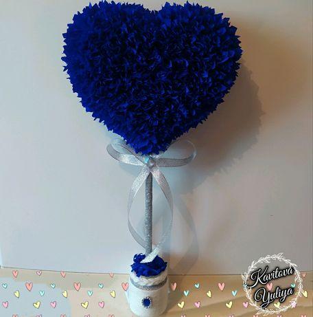 Топиарий,сердце,дерево,разные расцветки,ручная работа,подарок, сувенир