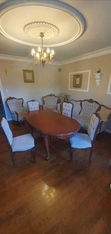 Zestaw wypoczynkowy ludwik + stół i 4 krzesła po renowacji!