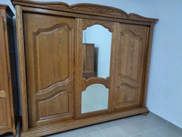 Szafa Dębowa 3-drzwiowa Przesuwna z Lustrem