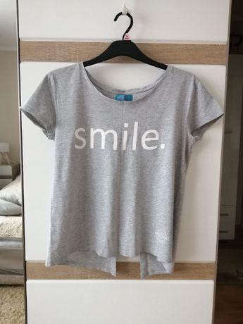 Szara koszulka bluzka roz L z napisem smile i rozcięciem na plecach
