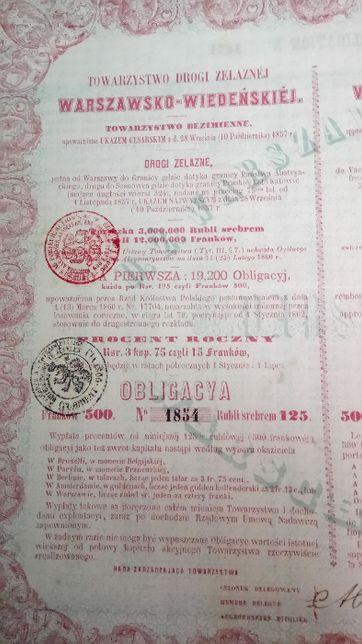 XIX wiek, stary dokument, obligacja 1860r
