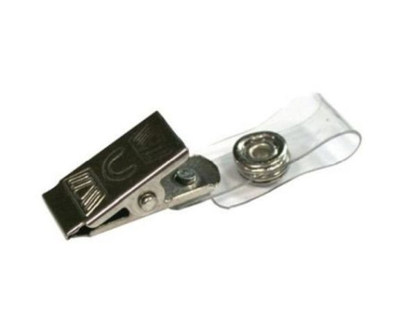 Molas para crachás, em plástico e metal, novas.