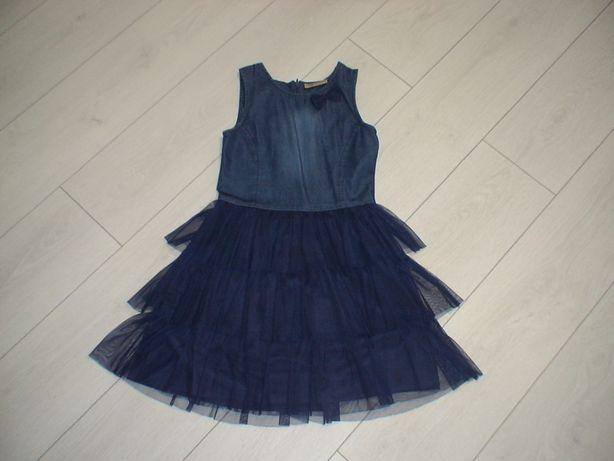 Красивое джинсовое платье с фатином для юной модницы 128-140 см