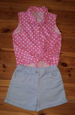 Komplet spodenki niebieskie bluzka groszki różowa 146 cm