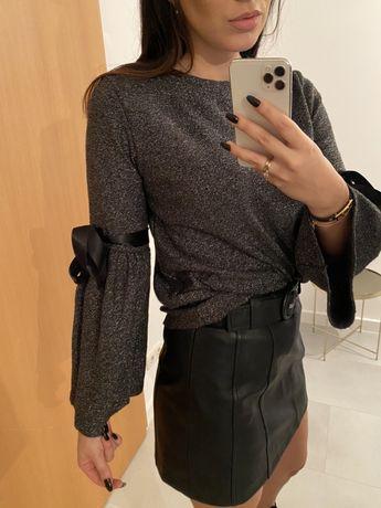 Swetek bluzka z wiazanymi rekawami raz ubrany S