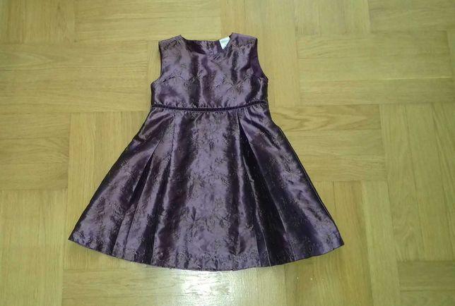104 fioletowa błyszcząca sukienka sukieneczka wizytowa elegancka