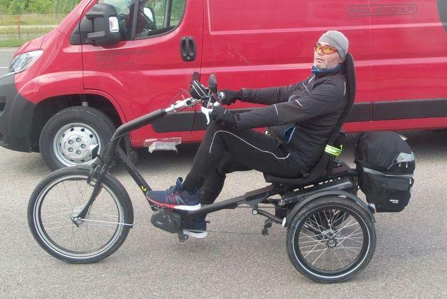 Rower trzykołowy trójkołowy elektryczny rehabilitacyjny poziomy HUKA