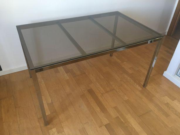 Mesa de Jantar 6 lugares - Cromado / Vidro (Ikea)