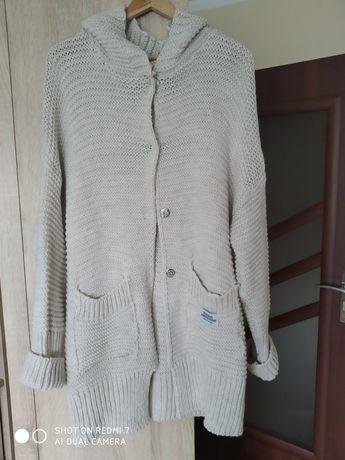 Nowy włoski kardigan beżowy ciepły sweter długi blezer
