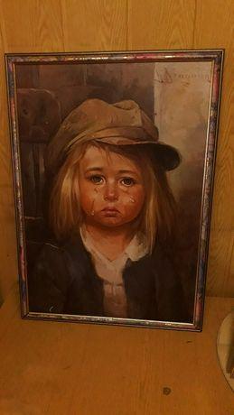 Płacząca dziewczynka - Stary kolekcjonerski obraz